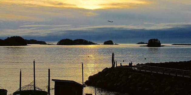 Sunset view of the sea and islands outside Sitka, Alaska