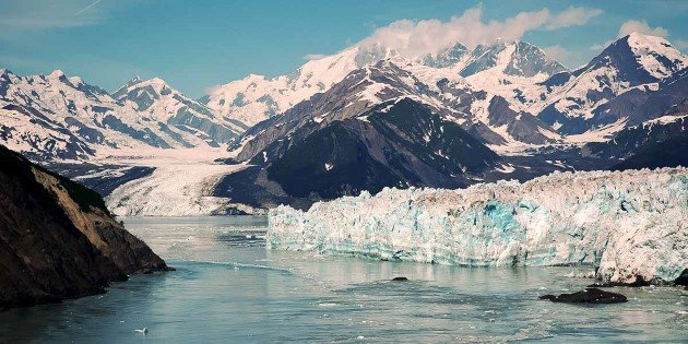 Hubbard Glacier, framed by mountains