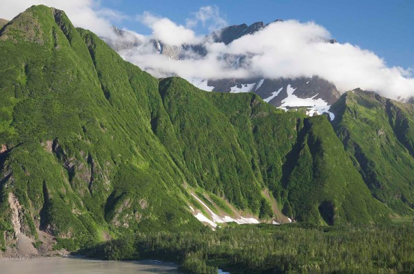 Rarely-visited Prince William Sound, framed by the Chugach mountains