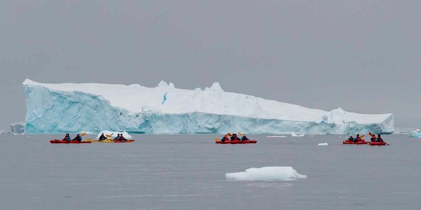 Kayaking in the Errera channel. MS Fram qualifies for the largest range of possible landing sites in Antarctica to enhance your experience.