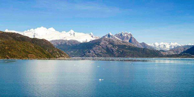 Beautiful panoramic view of Chilean fjords: Aysen fjord and Puerto Chacabuco surrounding area, Patagonia, Chile, South America.