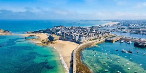 Aerial view of beautiful Saint Malo, France