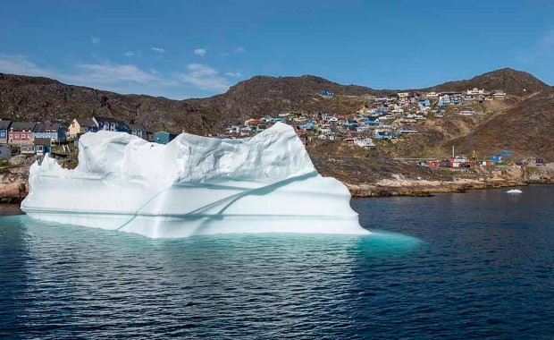 An iceberg floating on the sea near Qaqortoq, Greenland
