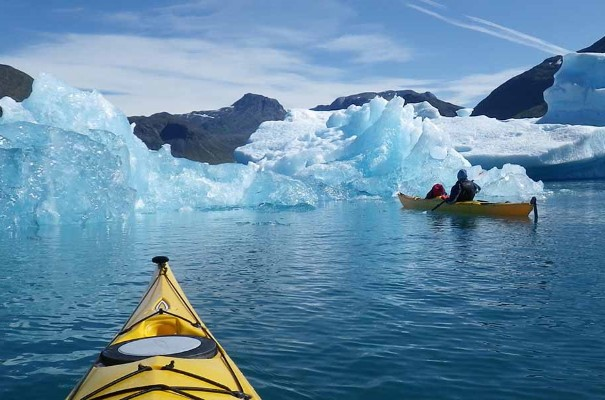 Kayaking among icebergs near Narsaq.