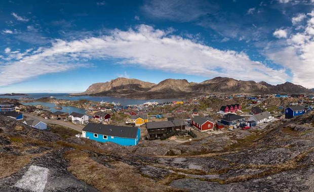 View of Sisimiut, the second-largest city in Greenland