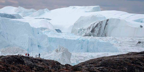 Close to the tremendous glacier in Ilulissat, Greenland.
