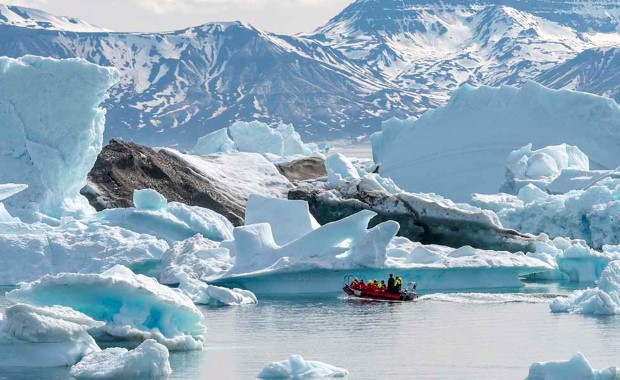 Get close to the icebergs on a rib safari around Camp Frieda, east of Saqqaq..
