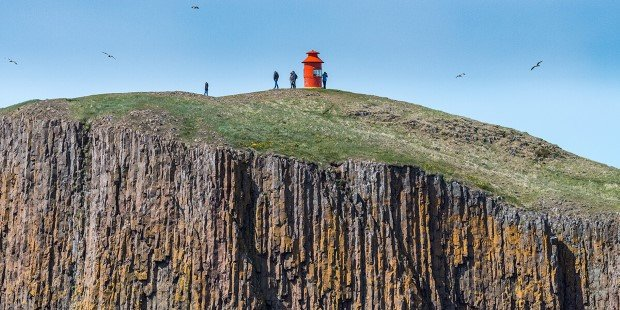 A beacon on a cliff, Stykkisholmur, Iceland.