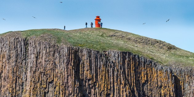 A beacon on a cliff, Stykkisholmur, Iceland