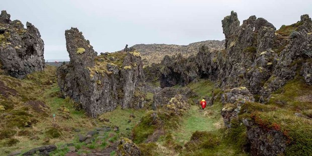 Go hiking in rough landscape in Stykkisholmur.