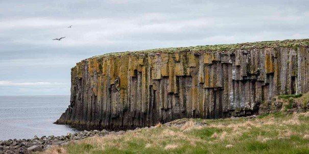 Monumental cliffs, Grimsey, Iceland.