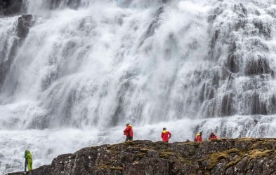 The majestic Dynjandi waterfall, Ísafjörður. Experience the best of Iceland on our expedition cruise around the island. Our extensive voyage brings you to a spellbinding variety of nature, wildlife and settlements.