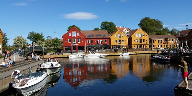 Dining in the harbour of Kristiansand, Norway