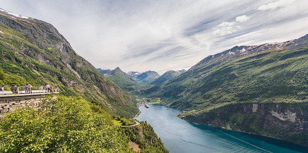 Stunning aerial view of the Geirangerfjord, Norway.