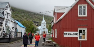 Strolling in the picturesque town of Seydisfjordur.