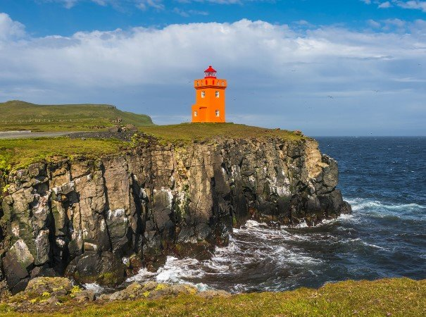Beautiful seashore of Grimsey Island, Iceland. Our expedition cruise offers excursions to a variety of islands, towns and settlements, spectacular views and interesting sites, all accompanied by our knowledgeable Expedition Team.