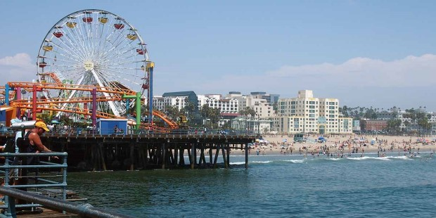 View of the beach from Santa Monica Pier, Los Angeles