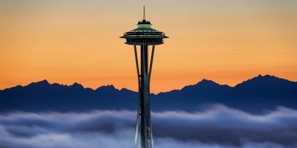 The iconic Space Needle, an observation tower in Seattle.