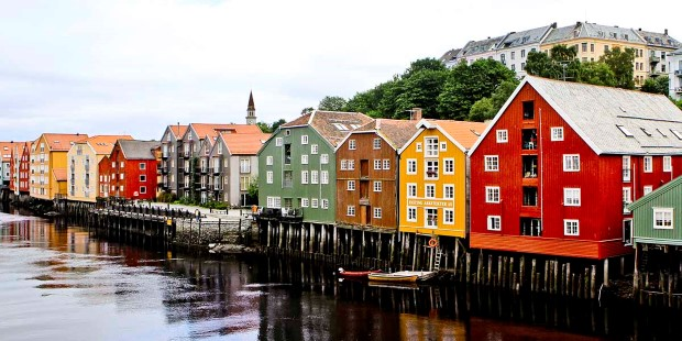 Colourful houses on the river, Trondheim, Norway