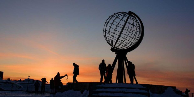 Nordkapp is the northernmost point of Europe, set on cliff above the Arctic Ocean