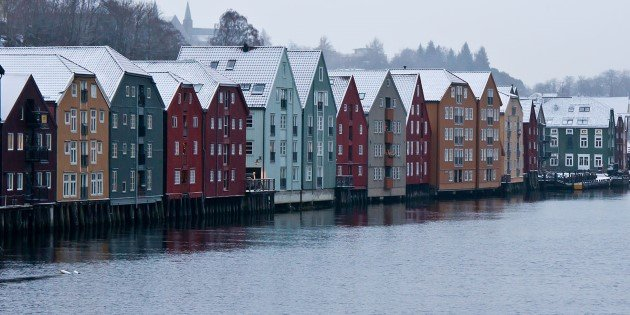 Colourful architecture along the Nidelven river, Trondheim, Norway