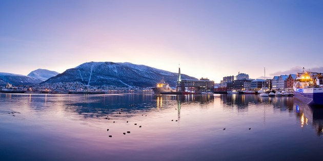 Winter in Tromsø, beautiful light and view to the sea and mountains