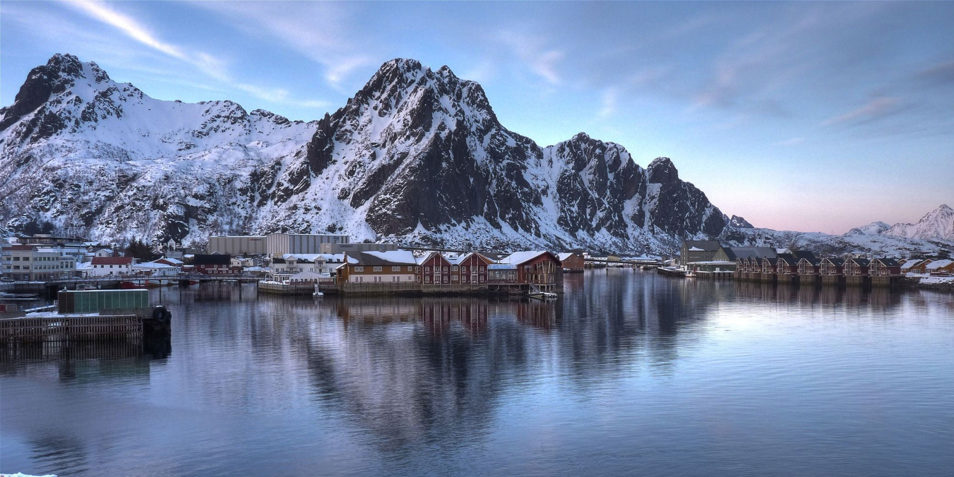 Svolvær on a sunny winter day, Norway
