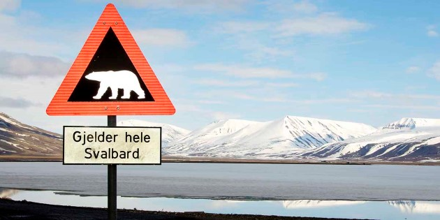 Polar bear crossing sign, Longyearbyen, Svalbard!