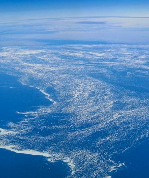 View of Davis Strait in the Labrador Sea from above.