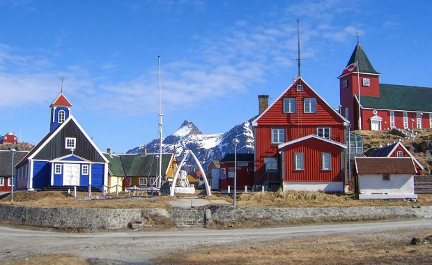 Idyllic Sisimiut with wooden church and colourful houses