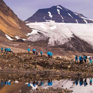 Hiking a moraine ridge in Hornsund, Svalbard