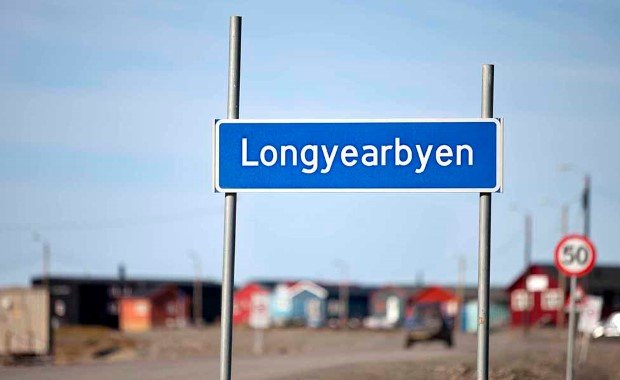 Welcome sign Longyearbyen, Svalbard.