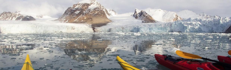 Kayaking in Smeerenburg, Svalbard.