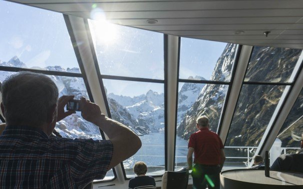 The panorama bar is perfect if you want to enjoy proximity to nature from inside of the ship.