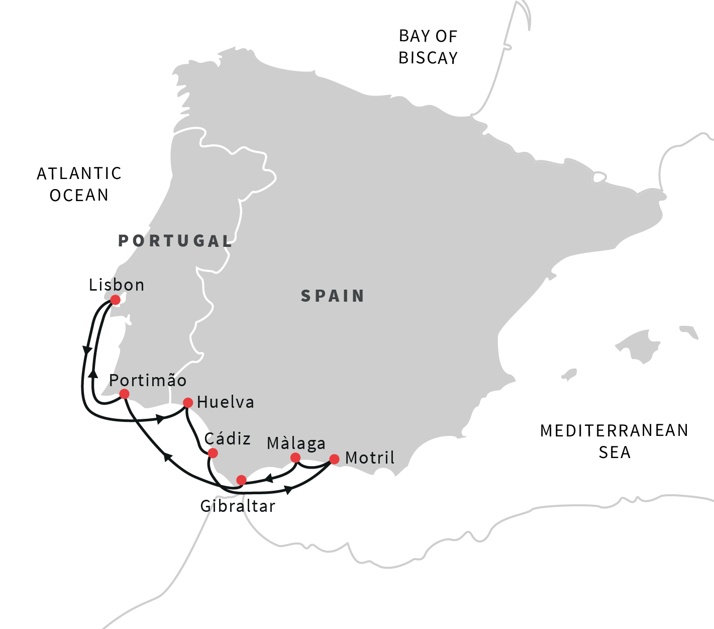 Map Of Southern Spain And Portugal.Cruise The Coast Of Algarve And Andalucia Lisbon Roundtrip