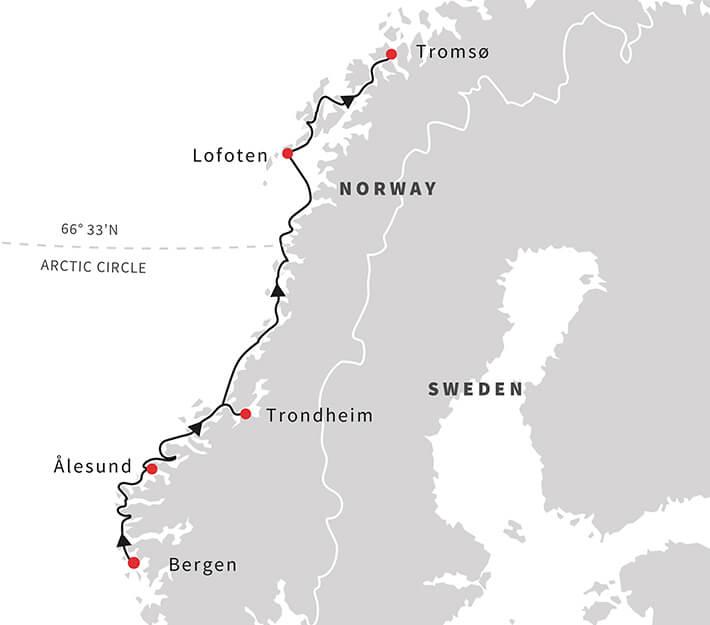 Norway Cruises A Taste Of The Arctic Northbound Hurtigruten UK - Norway map tromso