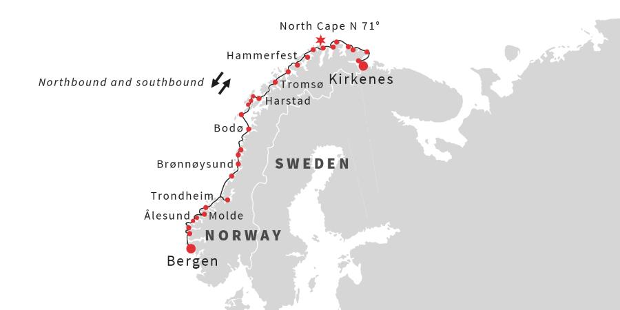 map the classic roundtrip voyage bergen kirkenes bergen