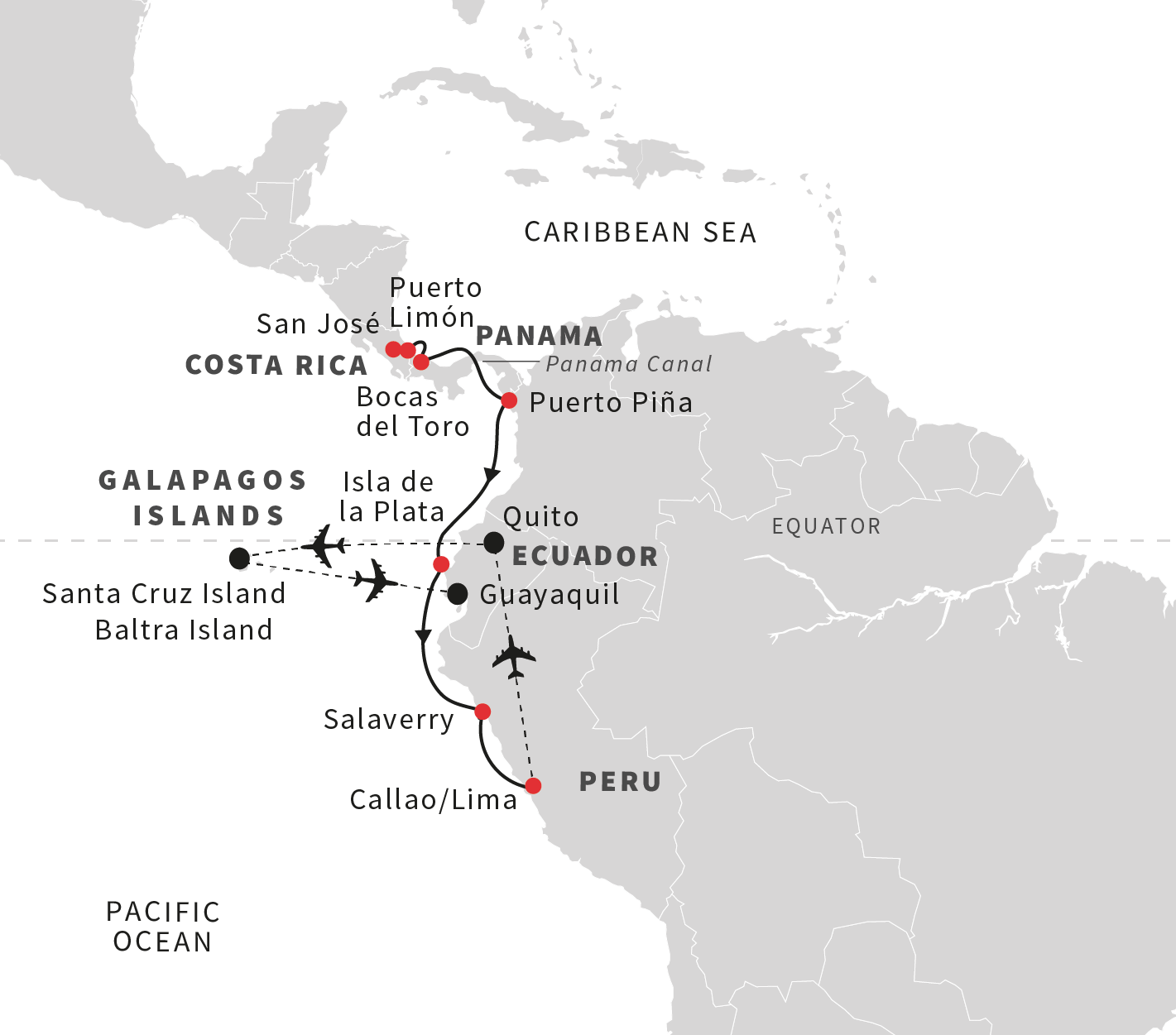 South America Map Galapagos Islands.Cruise To The Galapagos Islands From Costa Rica To Ecuador