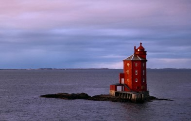 The light gives Kjeungskjær Lighthouse an almost ethereal quality