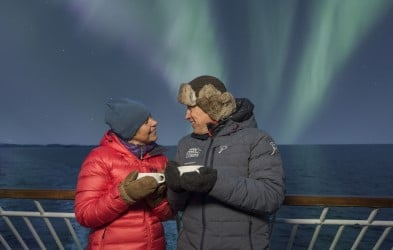 With our Northern Lights Promise, we give you another 6- or 7-day cruise free of charge if the Northern Lights do not appear on your voyage.