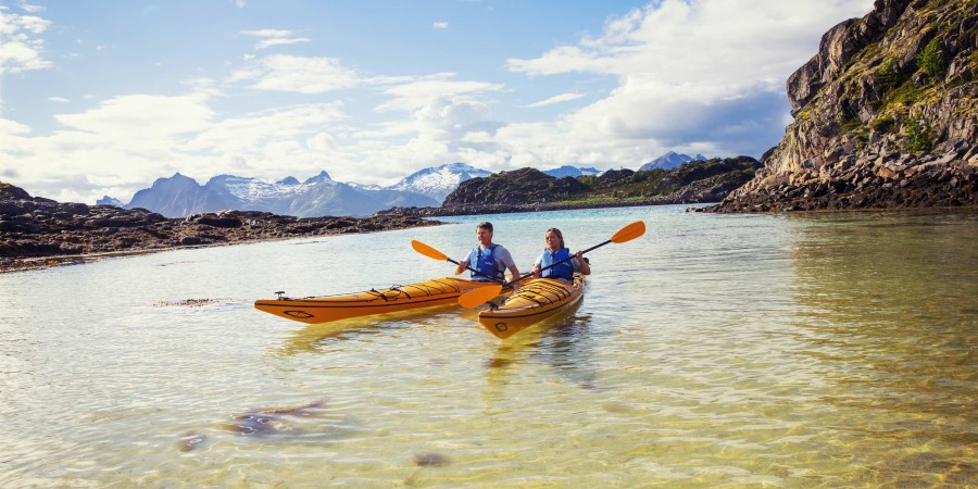 Kayaking is just one of the many excursions we offer. Stay active and explore Norwegian nature with hikes, walks and boat tours.