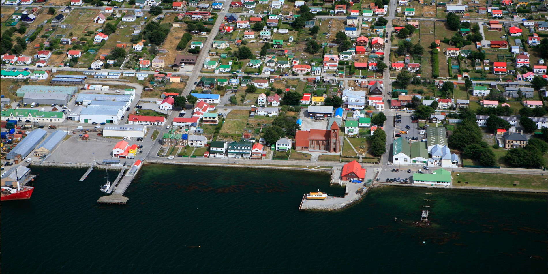 Aerial view of Port Stanley, the Falklands.