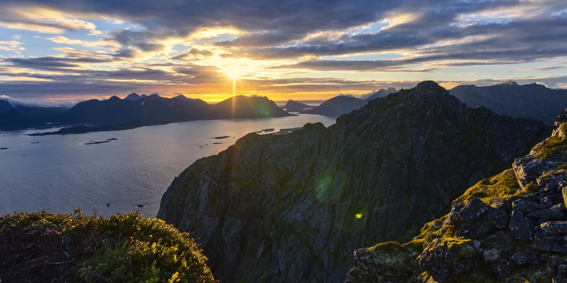 Hiking Lofoten in the sunset