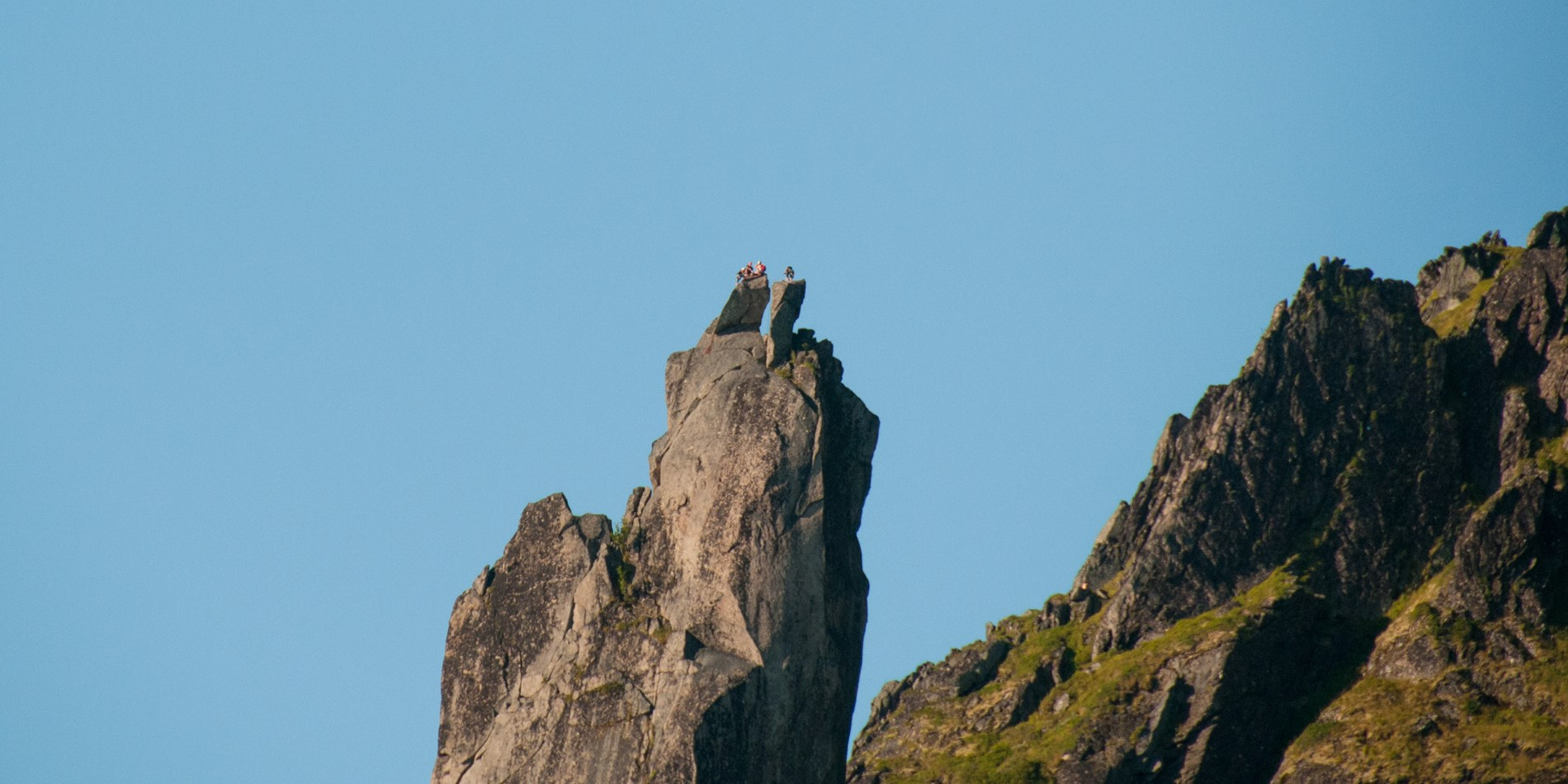 Climbers on top of Svolværgeita