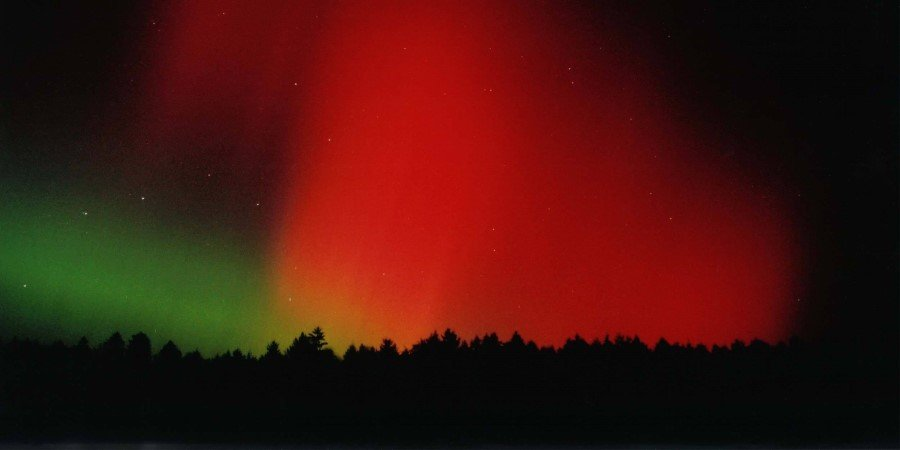 The red sky: aurora borealis over Bavaria, Germany
