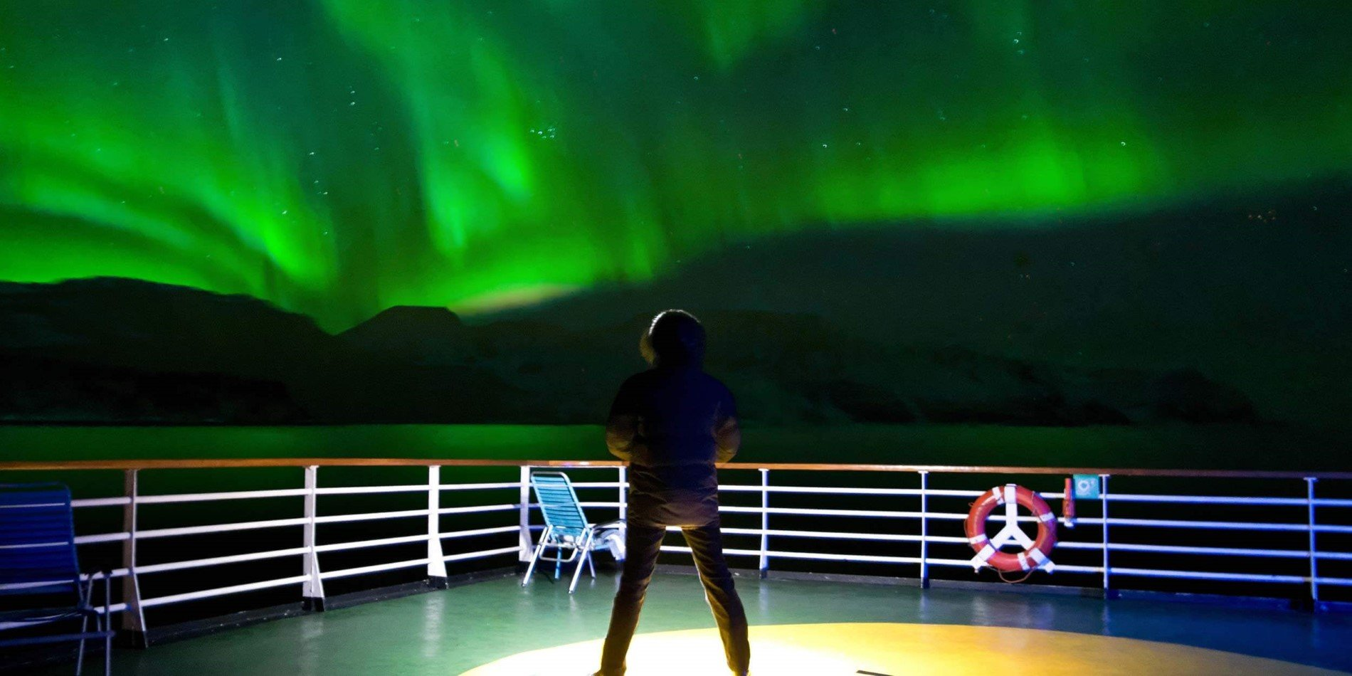 Gazing at the northern lights from a Hurtigruten ship