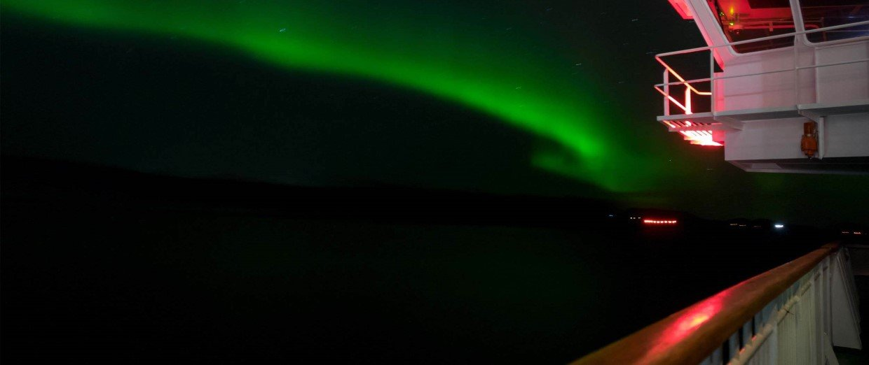 The northern lights spotted from deck, Hurtigruten