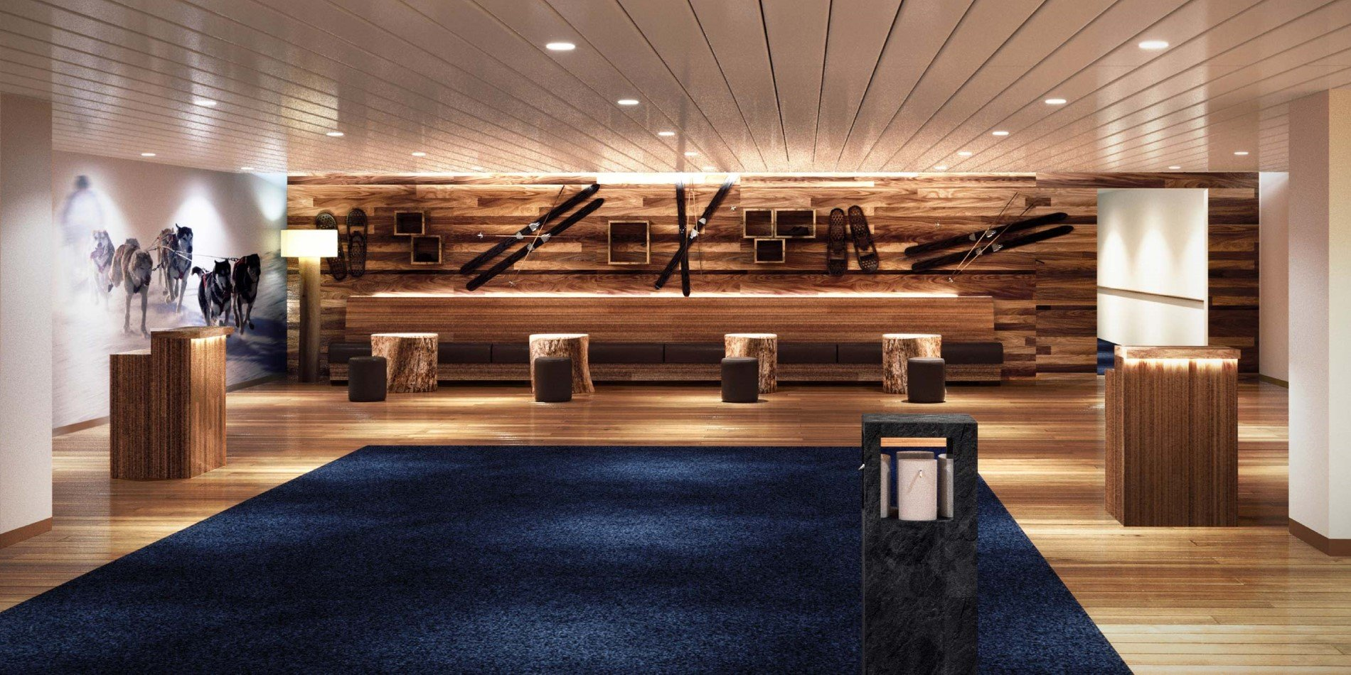 Refurbished Hurtigruten vestibule or lobby entrance