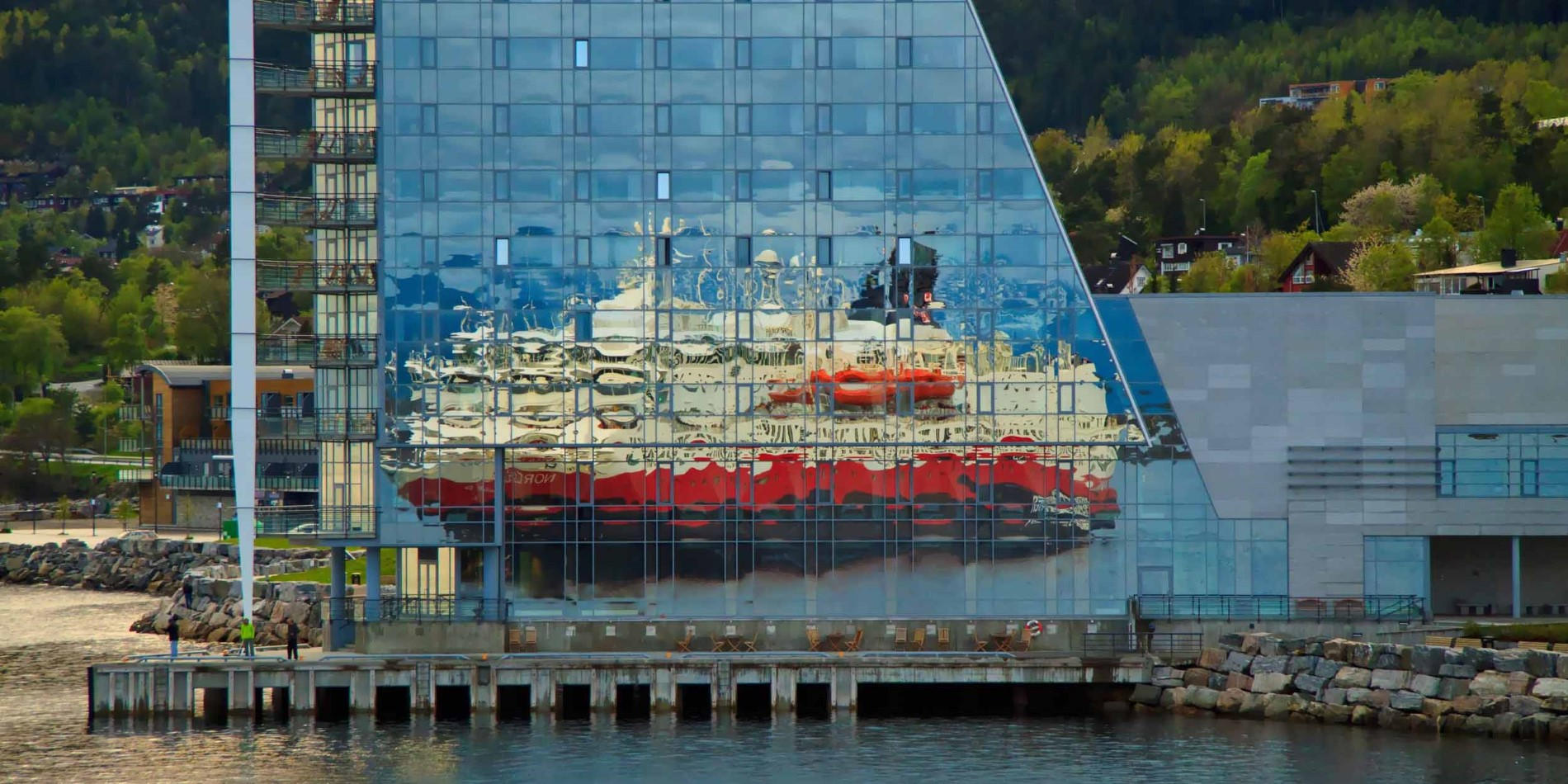 Molde, Norway reflection of ship Hurtigruten