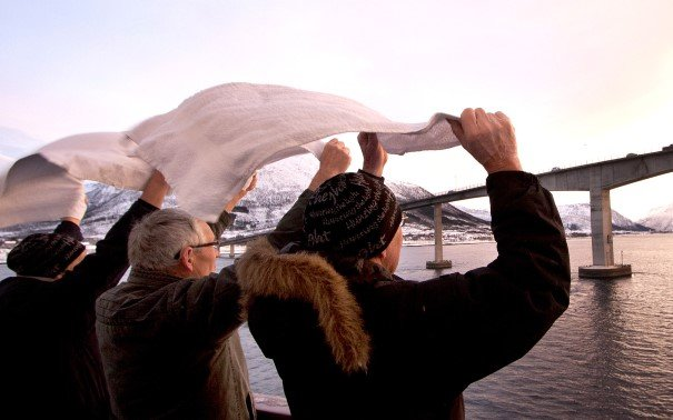 Waving hello – on board MS Nordkapp.